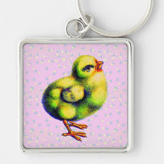 Little Peep's Easter Silver-Colored Square Key Ring