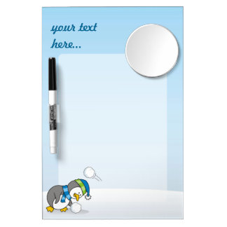 Little penguin getting a snow ball dry erase board with mirror