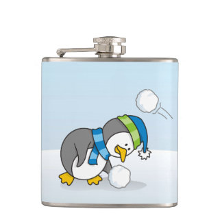 Little penguin getting a snow ball hip flask