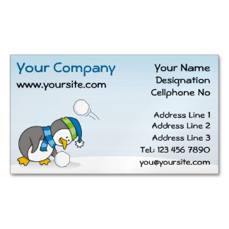 Little penguin getting a snow ball magnetic business cards