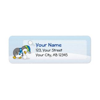 Little penguin getting a snow ball return address label