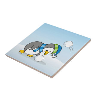 Little penguin getting a snow ball small square tile