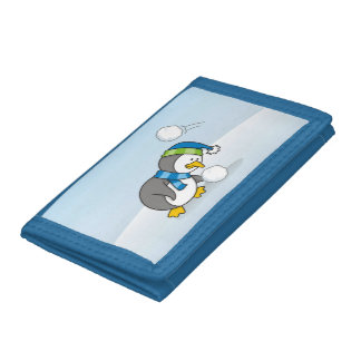 Little penguin getting a snow ball trifold wallets