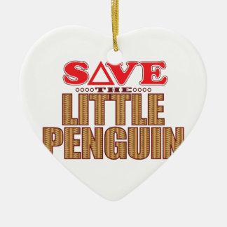 Little Penguin Save Ceramic Heart Decoration