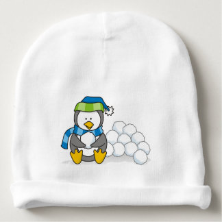 Little penguin sitting with snowballs baby beanie