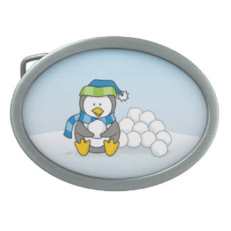 Little penguin sitting with snowballs belt buckle