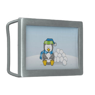 Little penguin sitting with snowballs belt buckles