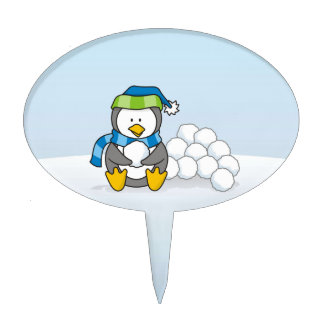 Little penguin sitting with snowballs cake toppers