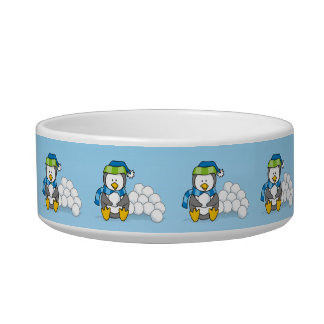 Little penguin sitting with snowballs cat water bowls