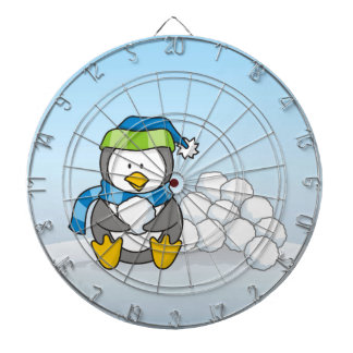 Little penguin sitting with snowballs dartboard