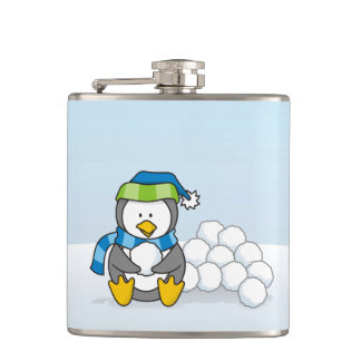 Little penguin sitting with snowballs hip flask