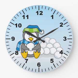Little penguin sitting with snowballs large clock
