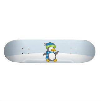 Little penguin walking on snow 21.3 cm mini skateboard deck