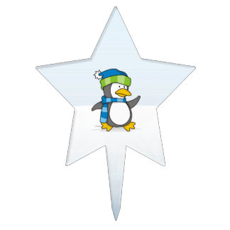 Little penguin walking on snow cake toppers