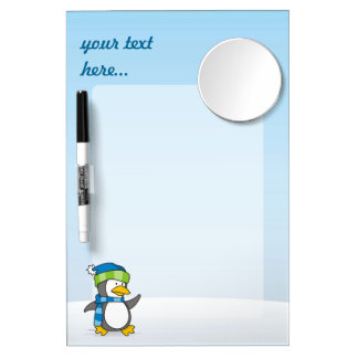 Little penguin walking on snow dry erase board with mirror