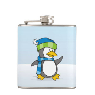 Little penguin walking on snow hip flask