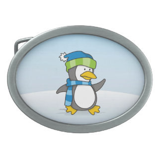 Little penguin walking on snow oval belt buckle
