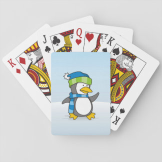 Little penguin walking on snow playing cards