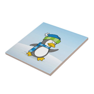 Little penguin walking on snow small square tile