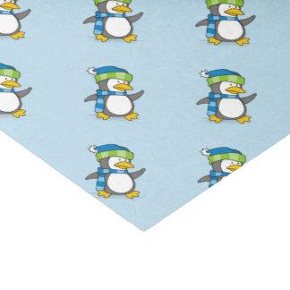 Little penguin walking on snow tissue paper