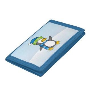 Little penguin walking on snow trifold wallet