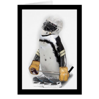 Little  Penguin Wearing Hockey Gear Card