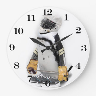 Little  Penguin Wearing Hockey Gear Large Clock