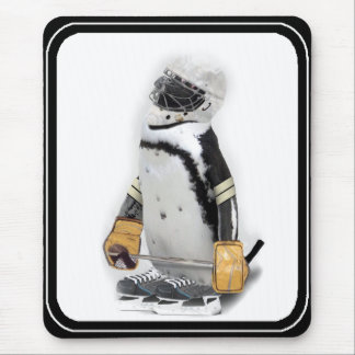 Little  Penguin Wearing Hockey Gear Mouse Mat