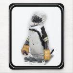 Little  Penguin Wearing Hockey Gear Mouse Pads