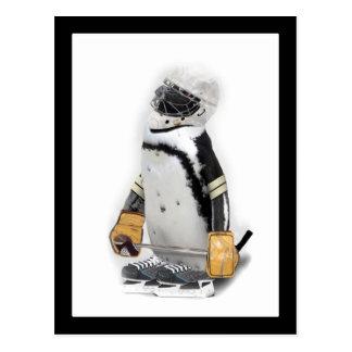 Little  Penguin Wearing Hockey Gear Postcard