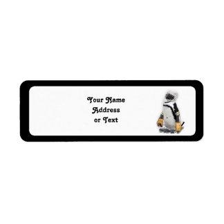 Little  Penguin Wearing Hockey Gear Return Address Label
