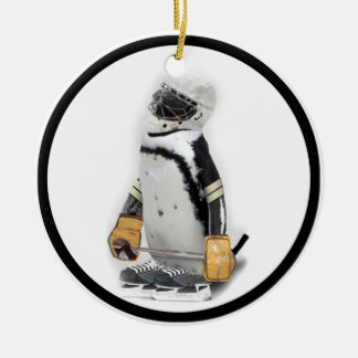 Little  Penguin Wearing Hockey Gear Round Ceramic Decoration