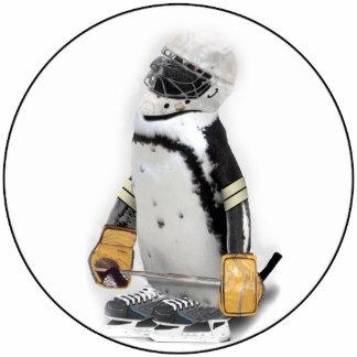 Little  Penguin Wearing Hockey Gear Standing Photo Sculpture
