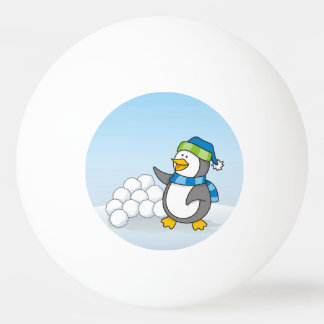 Little penguin with snow balls waving