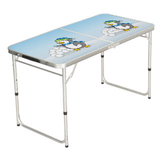 Little penguin with snow balls waving beer pong table