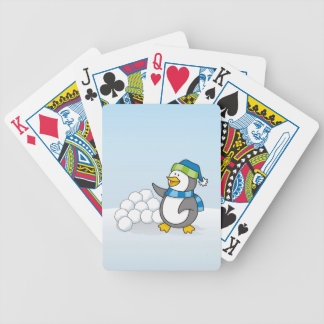 Little penguin with snow balls waving bicycle playing cards