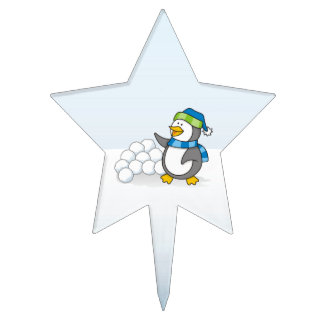 Little penguin with snow balls waving cake toppers