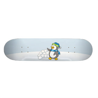 Little penguin with snow balls waving custom skate board