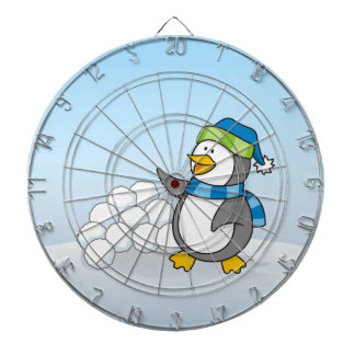 Little penguin with snow balls waving dartboard