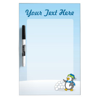 Little penguin with snow balls waving dry erase board