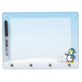 Little penguin with snow balls waving dry erase board with key ring holder