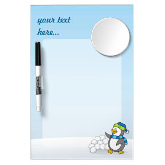 Little penguin with snow balls waving dry erase board with mirror