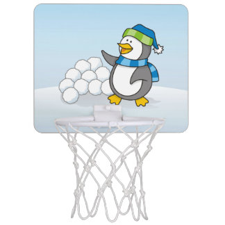Little penguin with snow balls waving mini basketball hoop