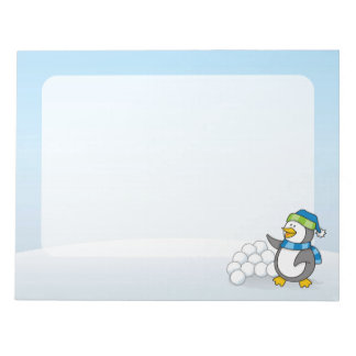Little penguin with snow balls waving notepad