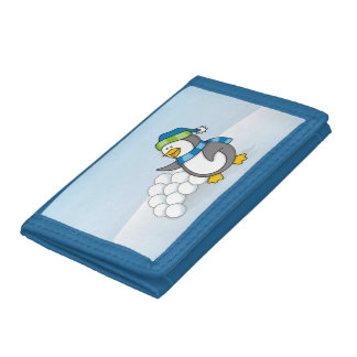 Little penguin with snow balls waving trifold wallet
