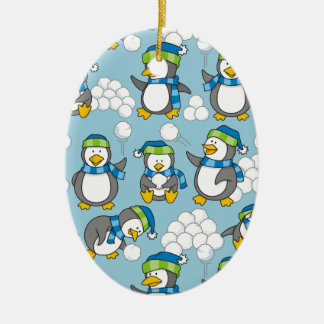 Little penguins background christmas ornament