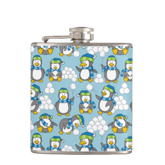 Little penguins background hip flask