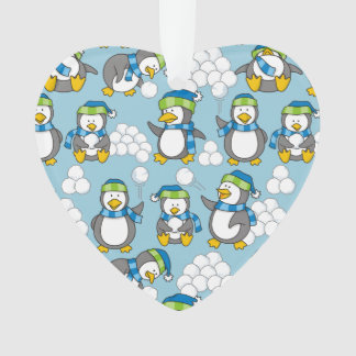Little penguins background ornament