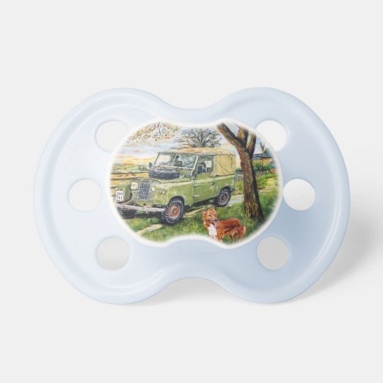 Little persons Pacifier with Land Rover picture.