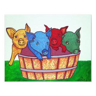 Little Piggies by Piliero 11 Cm X 14 Cm Invitation Card